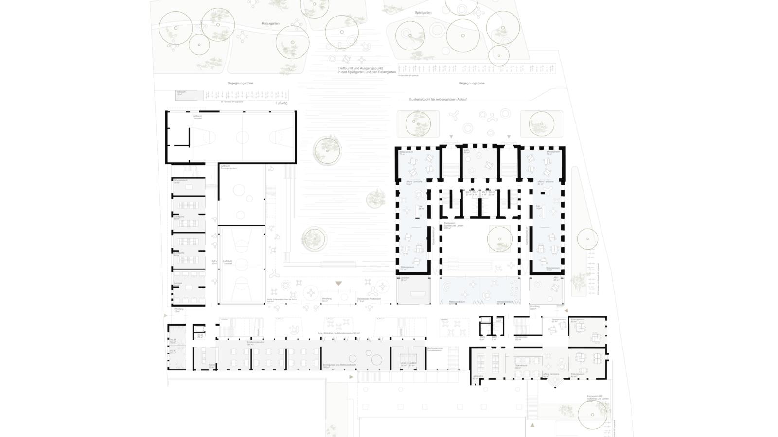 WETTBEWERB Schule der Zukunft Feldbach Grundriss Erdgeschoss