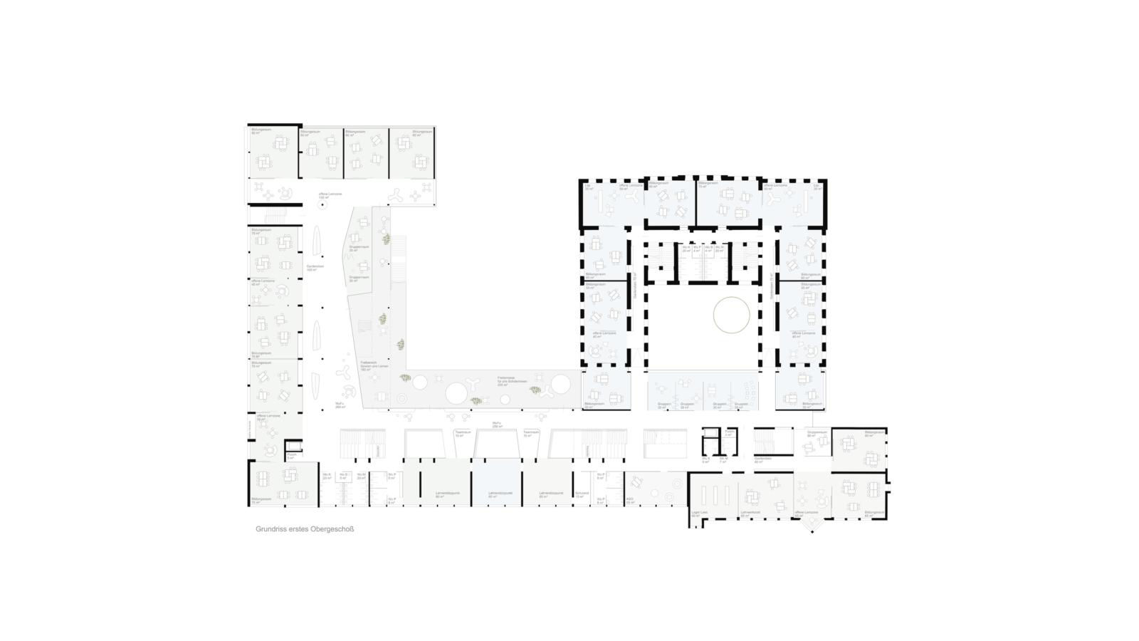 WETTBEWERB Schule der Zukunft Feldbach Grundriss Obergeschoss